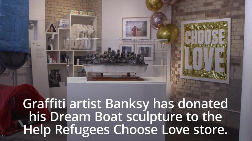 Banksy offers sculpture as raffle prize to help refugees