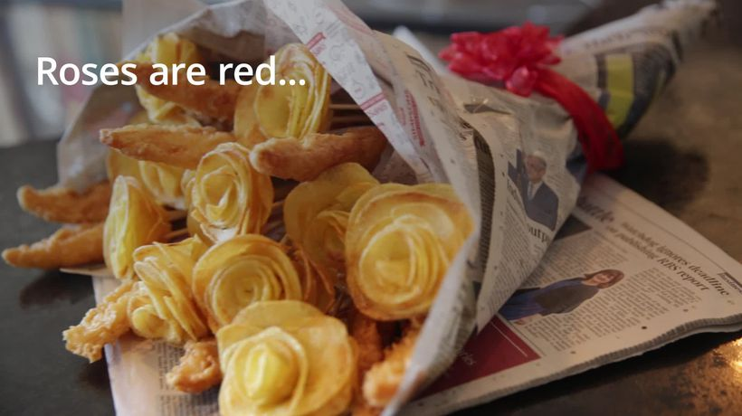 Fish and chip bouquet on sale for Valentine's Day