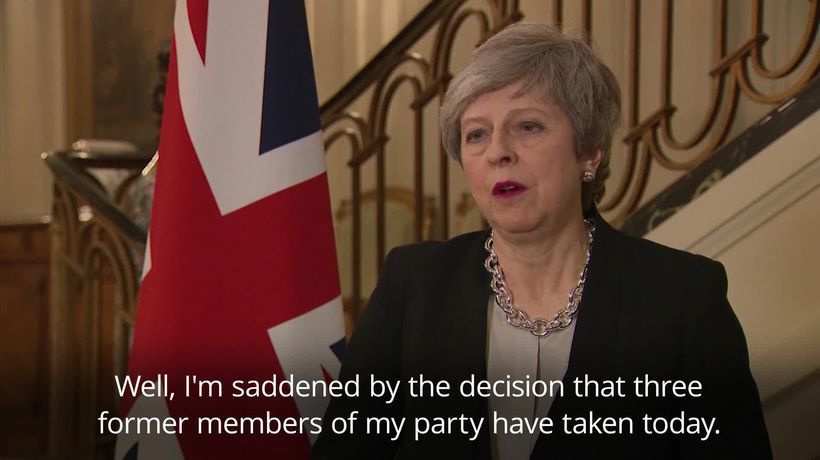 Theresa May saddened by MP departures