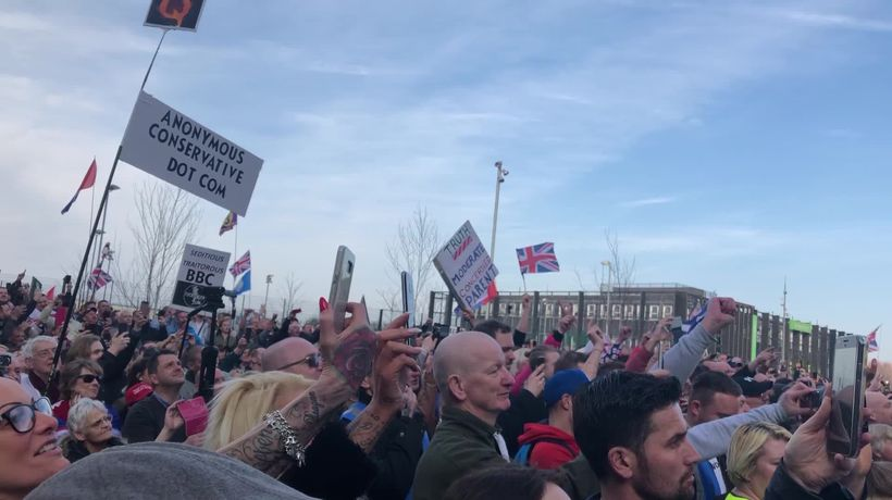 Tommy Robinson holds Salford protest against BBC Panorama