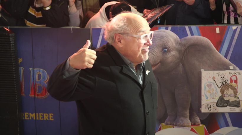 Danny DeVito gives a thumbs up for Jeremy Corbyn at London premiere of Dumbo