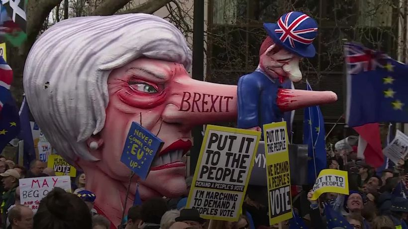 Demonstrators flood London for anti-Brexit march