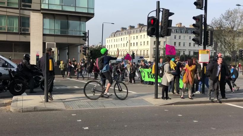 Climate Change protesters block off central London road during rush hour