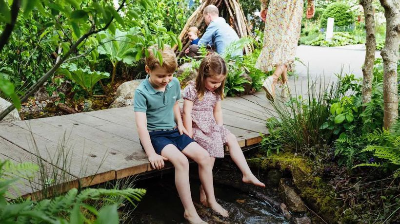 George, Charlotte and Louis visit mother Kate's Chelsea Flower Show garden