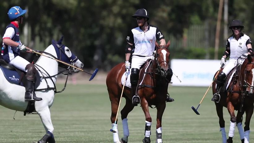 Harry takes part in charity polo match in first night away from Archie