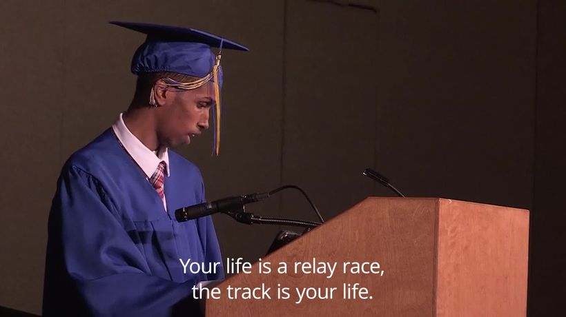 Student uses speech software to deliver commencement address at graduation