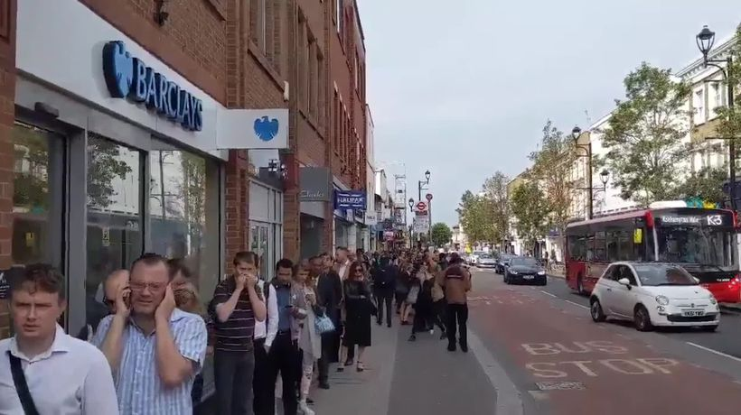 Huge queue forms outside Surbiton station during rail strike