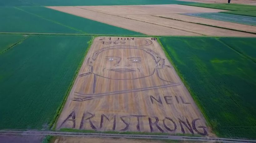 Giant portrait of Neil Armstrong revealed in Italian field