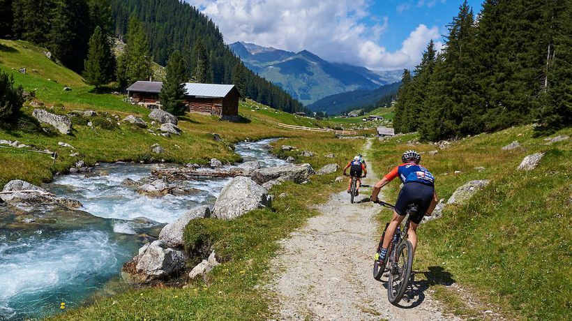 MTB Racing at 2606m above sea level during Stage 3 of the 2021 Swiss Epic!
