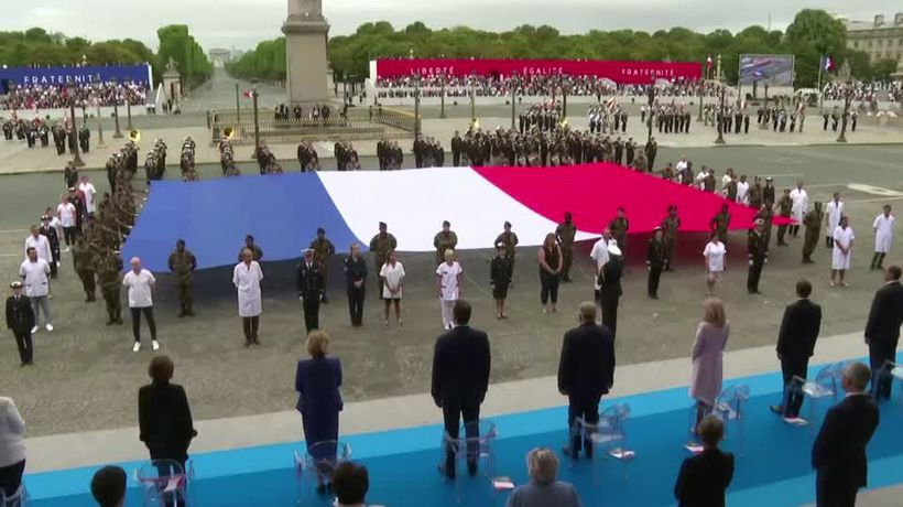 Health workers honored at France's Bastille Day