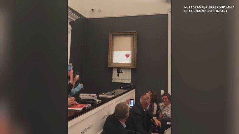 Banksy painting self-destructs right after sale