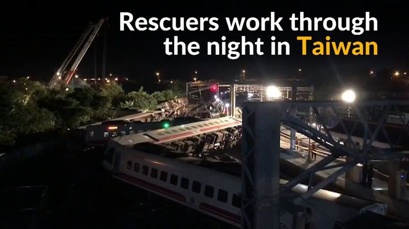 Rescuers work overnight to save victims of deadly Taiwan train disaster