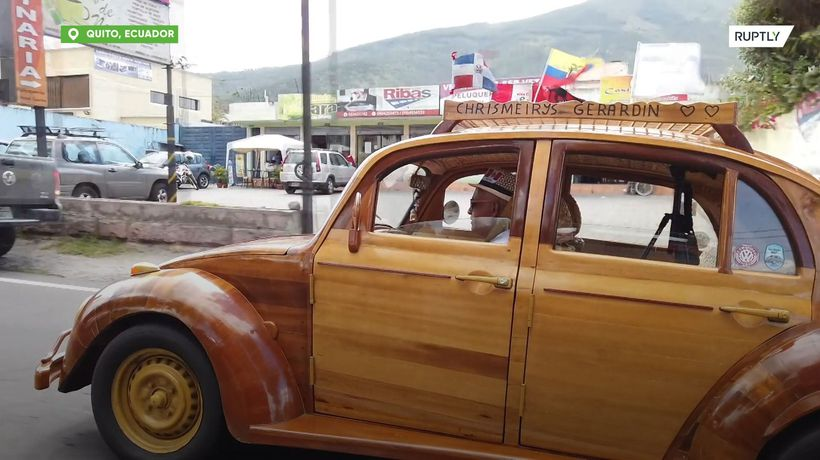 Dad plans 21,000km drive in WOODEN car to keep promise to daughter