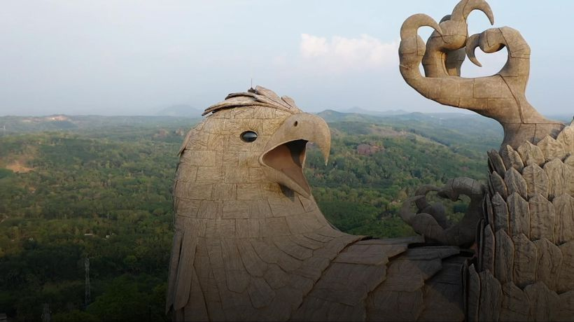 World's largest bird statue captured on drone footage