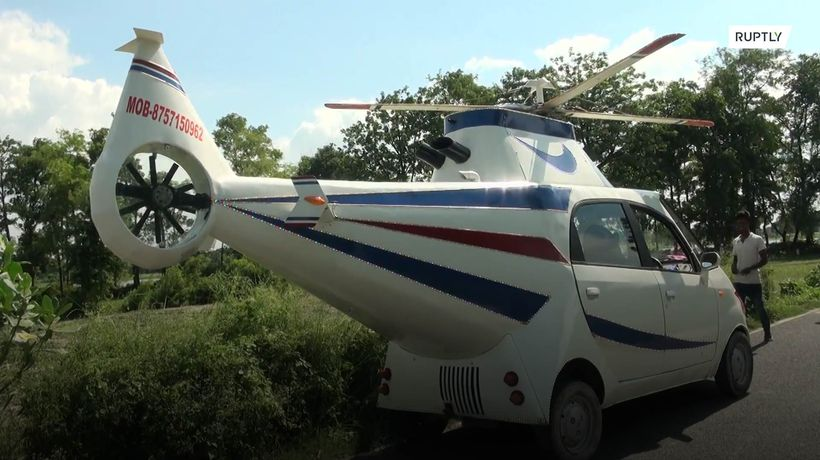 Indian villager gives his tiny car a helicopter makeover