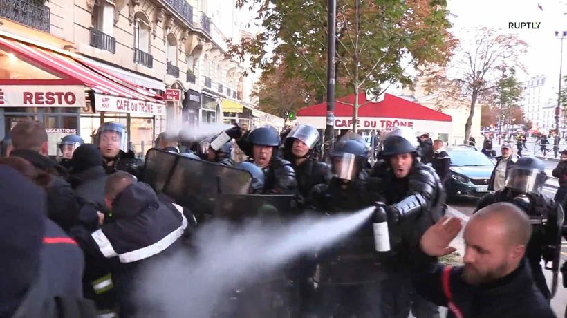 Cops vs Firefighters in epic protest battle