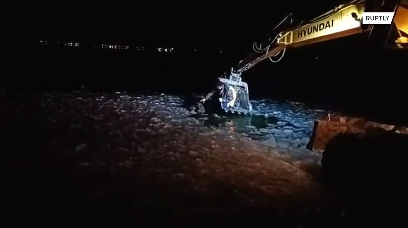 PAWsitive news! Dog gets pulled out of icy lake in excavator bucket