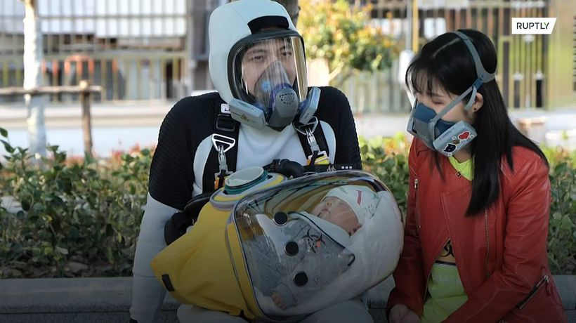 Chinese father creates 'Death Stranding' suit to protect baby from coronavirus
