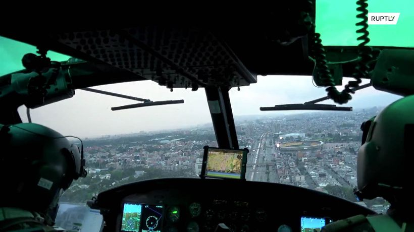 Army helicopter reminds Bogota residents of COVID-19 measures