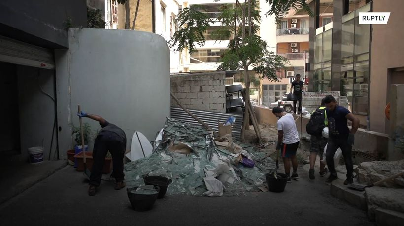 Volunteers clean Beirut of broken glass after port blasts so it doesn't end up on landfills