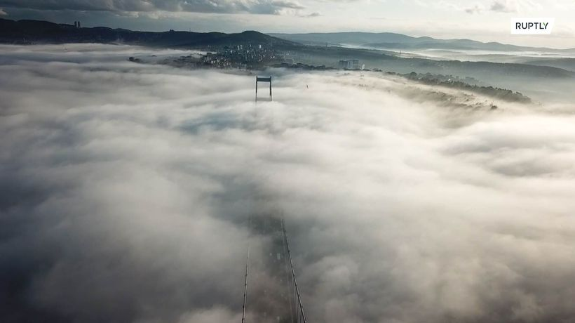 Drone footage captures thick fog blanketing Bosphorus Bridge
