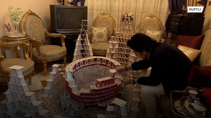 Egyptian card-stacking pro builds freestanding models of Mo Salah and Maradona