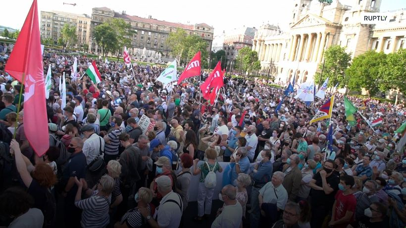 Thousands protested against the planned construction of a Chinese university campus in Budapest