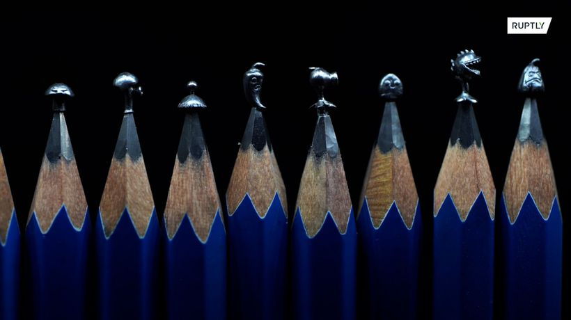 Tiny masterpieces! Chinese artist carves pencil leads into micro-sculptures