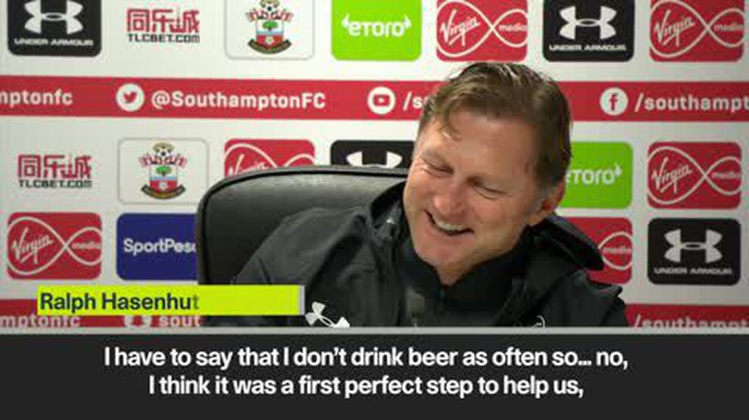 Hasenhuttl amused at beer question after first win as Southampton manager