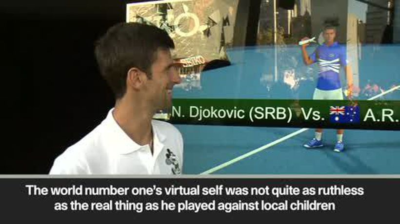 Novak Djokovic meets an avatar created in his own image