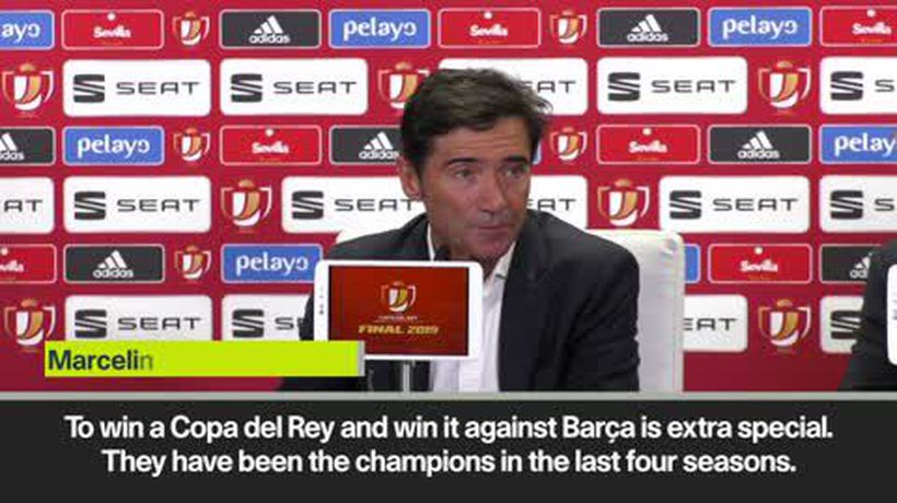 Marcelino 'has no words' to describe his joy at beating Barcelona to lift the Copa del Rey
