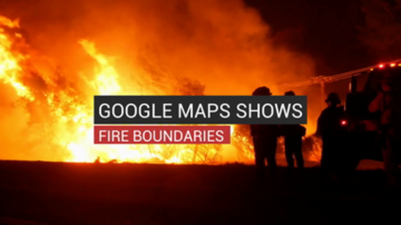 Google Maps Shows Fire Boundaries