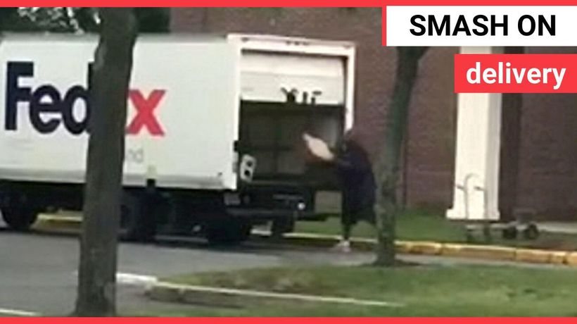 A Glastonbury, Connecticut FedEx driver was caught on camera throwing packages into the back of his