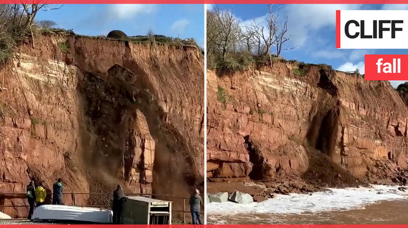 Large section of cliff collapses onto popular beach