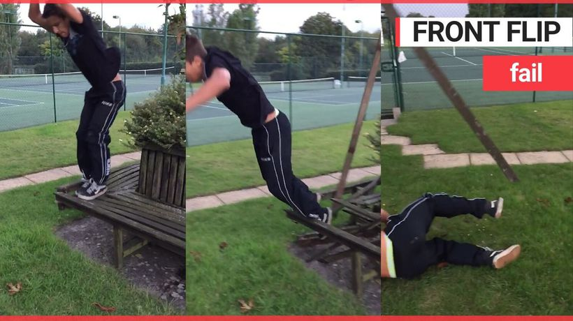 Teen tries 'parkour' but falls flat on his face as bench crumbles underneath