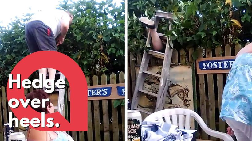 Hilarious moment dad gets stuck in hedge after £10 bet