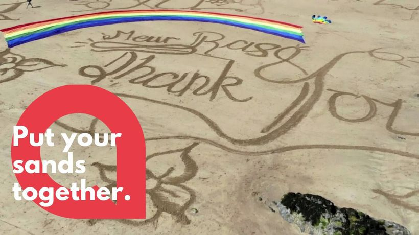 Drone footage shows sand tribute for key workers during COVID-19