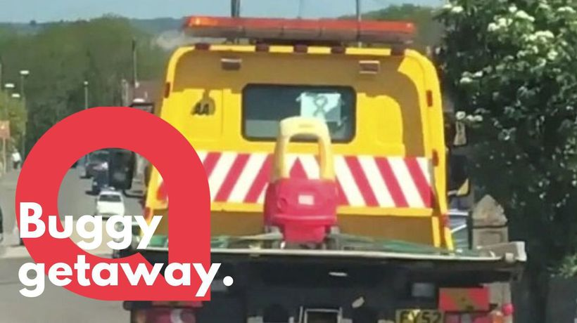 Tow truck transports a child's TOY CAR