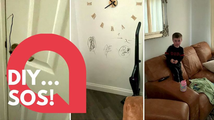 Toddler decorates walls in marker pen