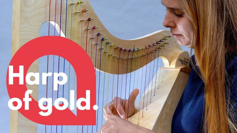 A dyslexic harpist invented a new harp with rainbow strings to help her play