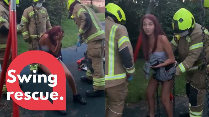 Teen gets rescued by fire fighters after getting lodged in a baby swing