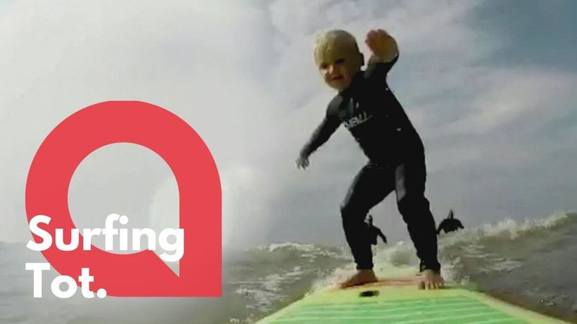 Video shows boy showing off his surfing skills - at the age of just FOUR