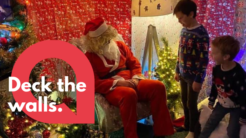 Uncle turns living room into grotto so his nephews could meet Santa