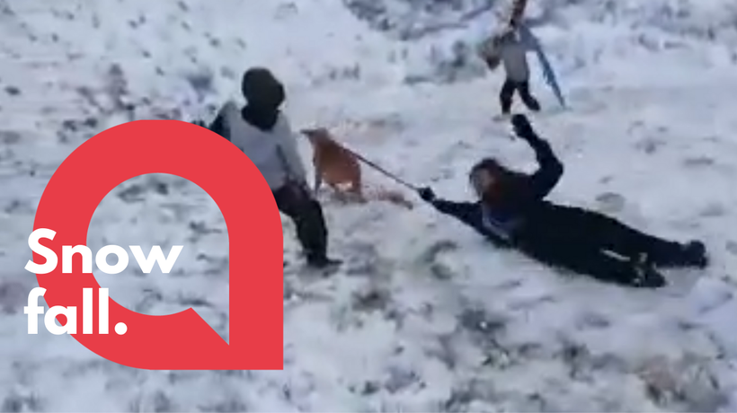 The hilarious moment girl gets pulled down snowy hill by her dog