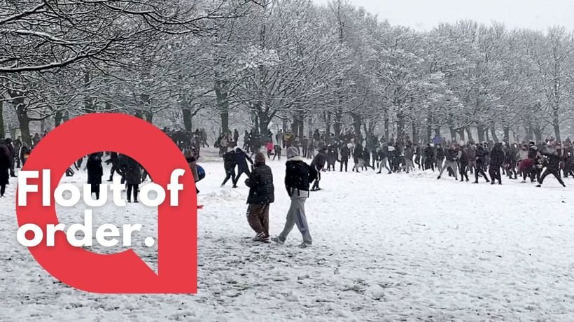 This shocking video shows hundreds of students gathering in a park to take part in a mass snowball f