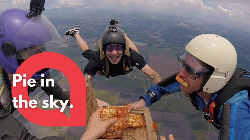 Skydivers filmed themselves eating a pizza while in FREEFALL
