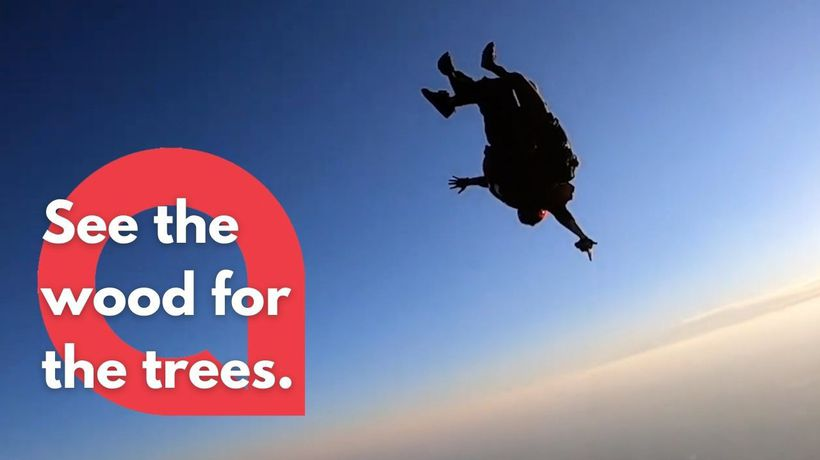 Environmentally friendly skydivers recite 100 strategies to stop global pollution as they plummet to