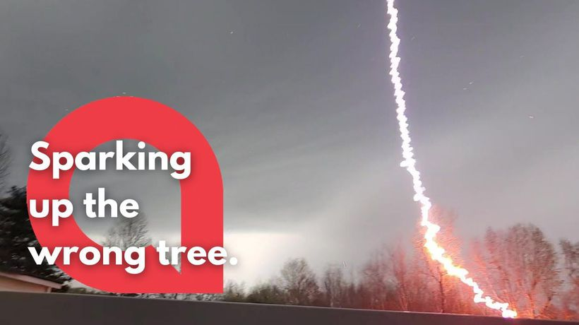 Dramatic moment a tree was set on FIRE by a lightning bolt