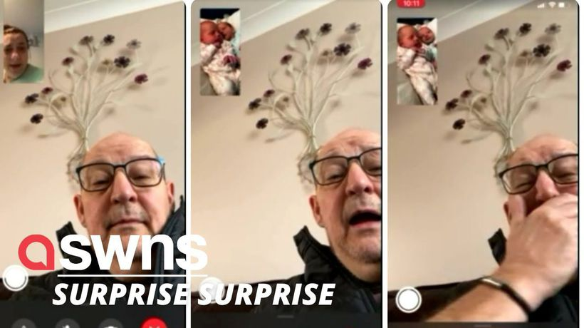 Watch the moment a new mum tells her father that she's given birth to surprise TWINS