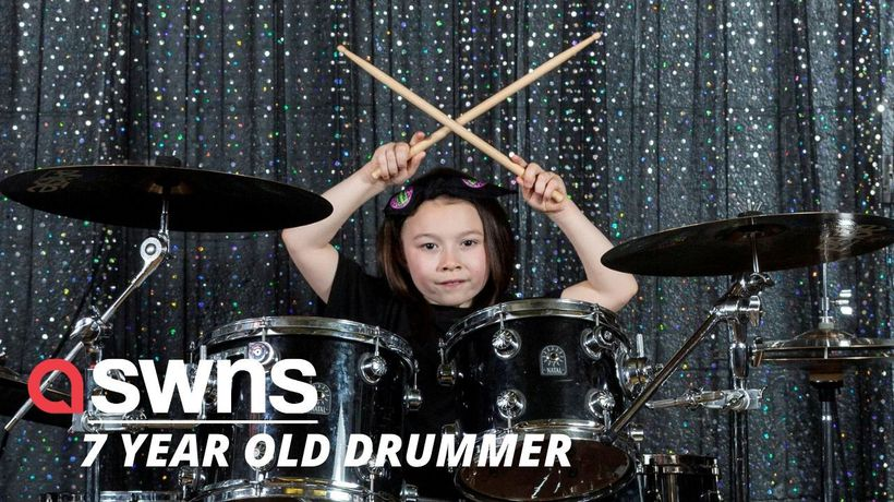 Seven-year-old UK schoolgirl who loves Def Leppard and Metallica is so talented at rock DRUMMING!